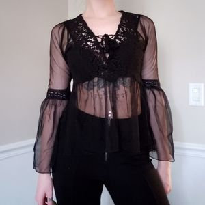 F21 sheer lace up bell sleeve top